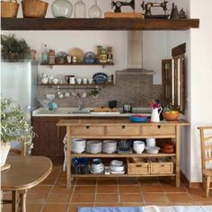 """Mediterranean Kitchen - I love the homely feel to this kitchen, it feels like a """"working kitchen"""", (read: not just for decor!) - I feel like I could just walk in and start cooking."""