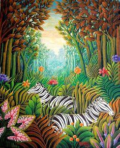 Silent art auction blends Haitian art and philanthropy – The Miscellany News Henri Rousseau, Jungle Art, Haitian Art, Caribbean Art, Forest Art, Nature Illustration, Tropical Art, Art Themes, Naive Art