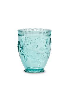 "Set 6 pcs 4"" Turquoise Glass Embossed Hummingbird Tumblers Old Fashioned Glasses"