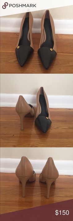 Tory Burch Leather Pump Two toned leather pointy toe pump. Sleek design. 3.5 inch heel. (No box) Tory Burch Shoes Heels
