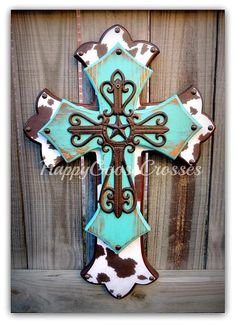 Wall Cross - Wood Cross - Medium - Antiqued Turquoise, Brown & White Cow Print , with large iron star cross Wooden Cross Crafts, Wooden Crosses, Crosses Decor, Wall Crosses, Wooden Blocks, Wood Crafts, Diy Crafts, Cross Wall Art, Cross Wall Decor