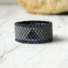 Grey ring Grey band ring Seed bead ring Grey by HappyBeadwork