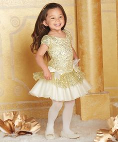 Another great find on #zulily! Gold Sequin Tutu Dress - Girls by chasing fireflies #zulilyfinds