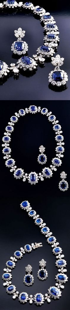 Sapphire Blue Necklacesapphire necklace This 14k solid gold blue sapphire necklace is simply… Harry Winston. More than 120 diamonds meet a 68.79-carat