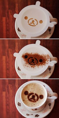Mamegoma Latte Art Tutorial! This is a latte art template you can use to make your own rilakkuma/mamegoma latte art! no drawing skills nece...
