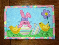 (7) Name: 'Quilting : Hiding Bunny Mug Rug - Easter Mini Quilt