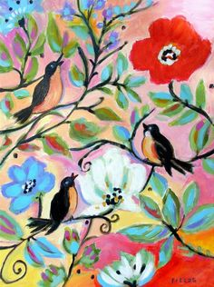 3 Birds in the Garden Painting  - 3 Birds in the Garden Fine Art Print