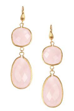 18K Gold Clad Bold Rose Quartz Dangle Earrings