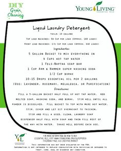 Liquid Laundry Detergent Recipe.   To order essential oils visit my website www.youngliving.org/culpepperck