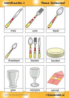 Word cards 2 for toddlers, theme restaurant, Miss Petra van kleuteridee. Pizza Restaurant, Petra, Learn Dutch, Dutch Words, Dutch Language, Teaching, Fruit, Tableware, Cards