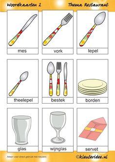 Woordkaarten 2 voor kleuters, thema restaurant, juf Petra van kleuteridee.nl, free printable