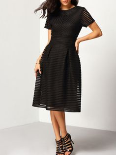 Shop Black Short Sleeve Hollow Out Flippy Dress online. SheIn offers Black Short Sleeve Hollow Out Flippy Dress & more to fit your fashionable needs. Black Funeral Dress, Vertical Striped Dress, Elegant Midi Dresses, Classic Black Dress, N21, Black Midi Dress, Flare Dress, Dresses Online, Dress Skirt