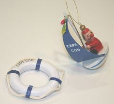 Vintage Wooden Sailor Santa Life Preserver Christmas Ornaments Cape Cod Sailboat