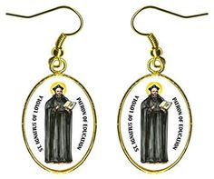 """St Ignatius of Loyola of Education 1"""" Gold Hypoallergenic Stainless Steel Earrings"""
