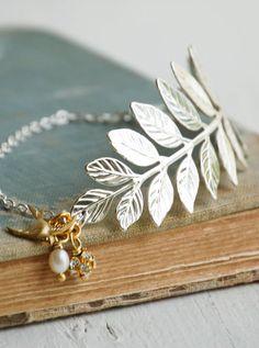 Silver LEAF BRACELET Laurel Grecian Nature