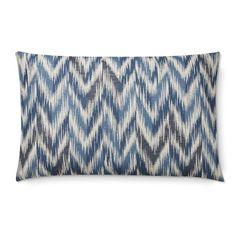 Talla Chevron Ikat Jacquard Lumbar Pillow Cover, Blue #williamssonoma