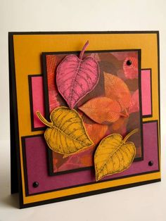 Stampin' Up! ... handmade card: Leaves Coming Down... by Luv Flowers ... rich Fall colors with purples too ... like the stamping on colored card stock in the fussy cut leaves ...