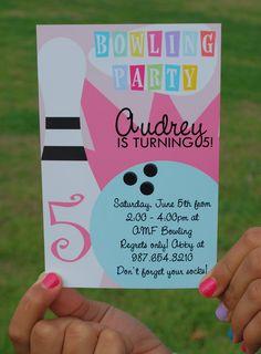 Printable Girls Bowling Invitation. $10.00, via Etsy.