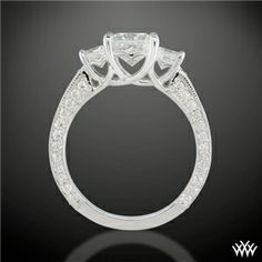 'Coeur de Clara Ashley' 3 Stone Engagement Ring for Princess Cut Diamonds hearts on side