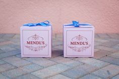 """The details on the Mendl's box say """"Jackie & Simen Wedding 12.26.14"""""""