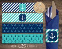 Instant Download Turquoise Nautical Napkin Rings, Printable Nautical Baby Shower Napkin Wraparounds, Teal Blue Sailor Napkin Holders 26E