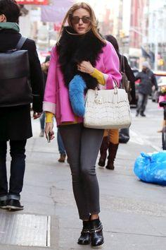 Olivia Palermo wearing Charlotte Simone Blue Fur Popsicle Stole