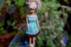 Puppenkleidung - Kleid mit Borte ** für Barbie ** türkis - ein Designerstück von…