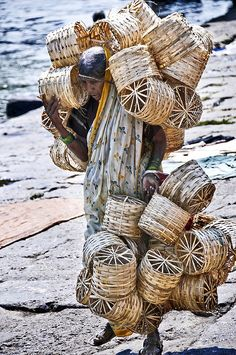 Basket vendor, India