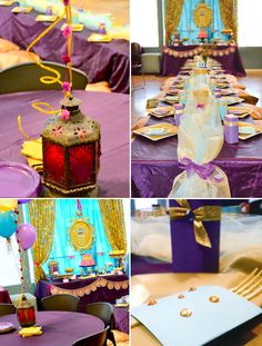 Princess Jasmine Birthday Party (Arabian Nights) // Hostess with the Mostess® Jasmin Party, Princess Jasmine Party, Disney Princess Party, Princess Birthday, Girl Birthday, 30th Birthday, Aladdin Birthday Party, Aladdin Party, Birthday Party Tables