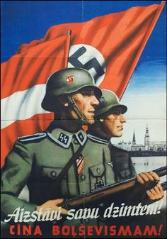 Latvian SS propaganda poster Text: We will protect our land. Death to Bolshevism!