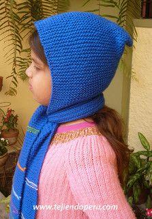 Tutorial: cómo tejer una bufanda con capucha para niños en dos agujas o palitos!
