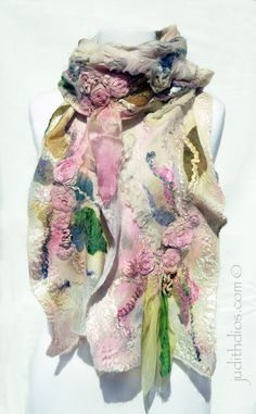 Judith Dios rose scarf with felted in dimensional flowers.