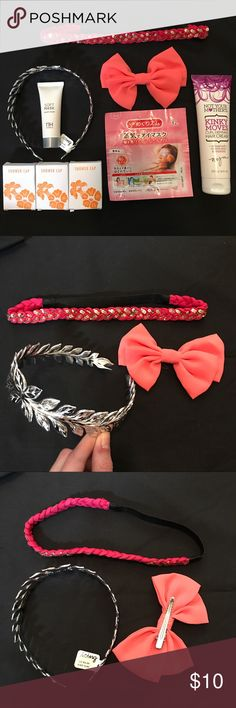 NWT Hair Bundle! Hair Bundle!!! Includes: Silver Greek Wreath Headband, Pink with Gold Sequins stretchy headband, Coral bow, Curl Defining Cream, Hair Mask, Japanese warming eye mask, & 3 shower caps Accessories