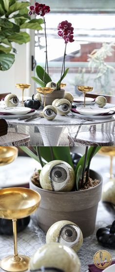 Wicked and Eclectic Halloween Table Setting - spooky chic table - halloween table setting ideas