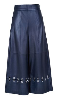Tibi | Blue Metal Rings On Leather High Waisted Nerd Pants | Lyst