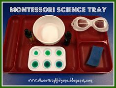 I'm pinning this montessori science tray because of the goggles! What a wonderful idea.