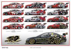 Holden Racing Team, paint schemes '03-'12. Artwork by @PeteHughes221 #v8sc