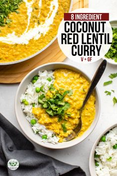 This creamy Coconut & Red Lentil Curry is ready in 30 minutes and you only need 8 ingredients to make it! A cozy, hearty, and flavorful dinner. Red Lentil Recipes, Curry Recipes, Veggie Recipes, Indian Food Recipes, Whole Food Recipes, Vegetarian Recipes, Cooking Recipes, Healthy Recipes, Ethnic Recipes