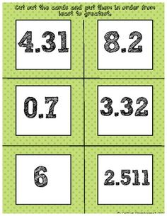Free Ordering Decimals activity- cut and sort the decimals greatest to least or vice versa.