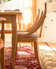 Round Back Chair In Natural Cherry. American Made, Solid Wood Dining Chairs.