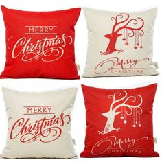 4 Pack Home Winter Christmas Decorative Throw Pillow Case Cover Square Red White