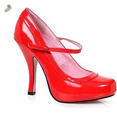 Women's Ellie Shoes 423-BABYDOLL Mary Jane Concealed Platform Pump Red 6 - Ellie shoes pumps for women (*Amazon Partner-Link)