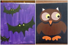 25% OFF SALE! Enter coupon code: HALLOWEEN25OFF, Hand Painted Owl and Bats Coasters, 4.25in. x 4.25in, Set of Two on Etsy, $10.00