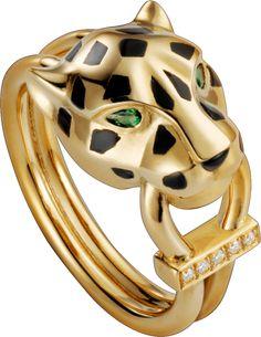 Bague Panthère de Cartier Or jaune, laque, diamants, grenat tsavorite