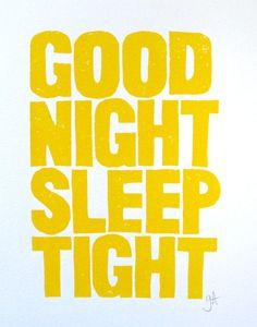 LINOCUT PRINT - Good Night Sleep Tight YELLOW letterpress typography poster 8x10. $22.00, via Etsy.