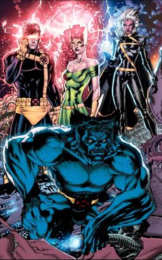 Cyclops, Jean Grey, Storm & Beast by Jim Lee