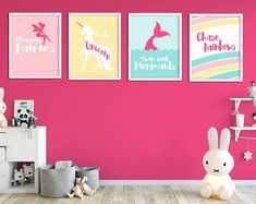 Nursery Decor, Wall Art Prints and Personalised Gifts by InspiredFlamingo Baby Nursery Neutral, Baby Girl Nursery Decor, Nursery Wall Decor, Room Decor, Princess Nursery, Personalised Prints, Kids Decor, Decor Ideas, Unicorn Print