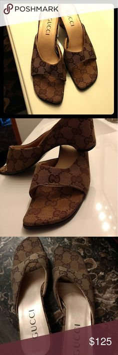 Gorgeous authentic Gucci shoes Great shoes for a date night or a night out with the girls. Grab them at this affordable cost !2.5 inch heels. Gucci Shoes Sandals