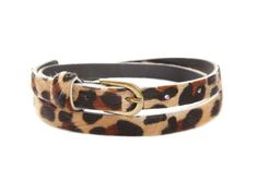 Pony Hair Leopard Skinny Belt by Sam Brown