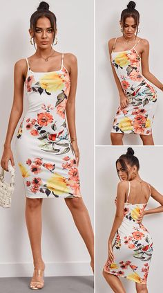 White Random Floral Print Square Neck Spaghetti Strap Sleeveless Dress HOT SALES 2020, beautiful dresses, pretty dresses, holiday fashion, dresses outfits, dress, cute dresses, clothes, classy & elegant, elegant style, mode trends 2020, trending, fashion, fashion looks, moda, women, beautiful, beauty, buy, sale, shop, shopping, vestidos elegantes, vestidos fofos, vestidos bonitos